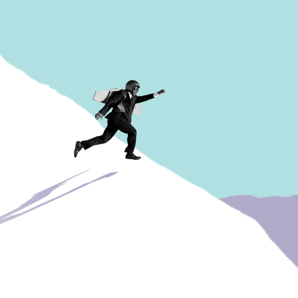 Man about to fly off a cliff--illustration