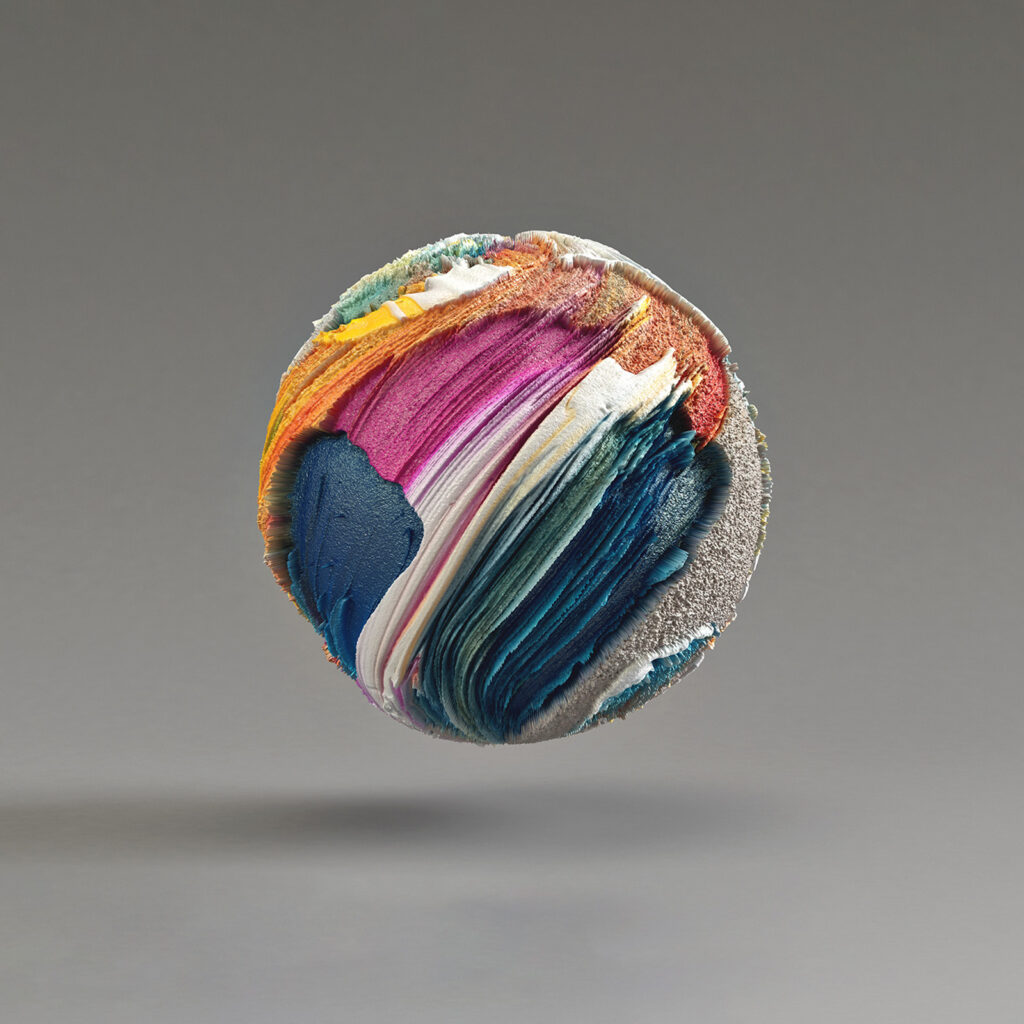 Colorful digital artwork that looks like a glass marble